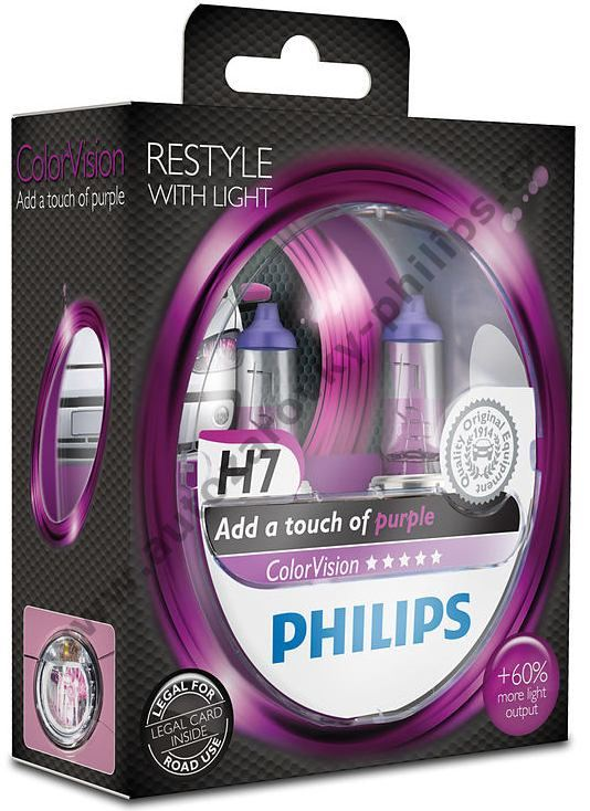 Autožárovky H7 12V Fialový design ColorVision Purple Philips